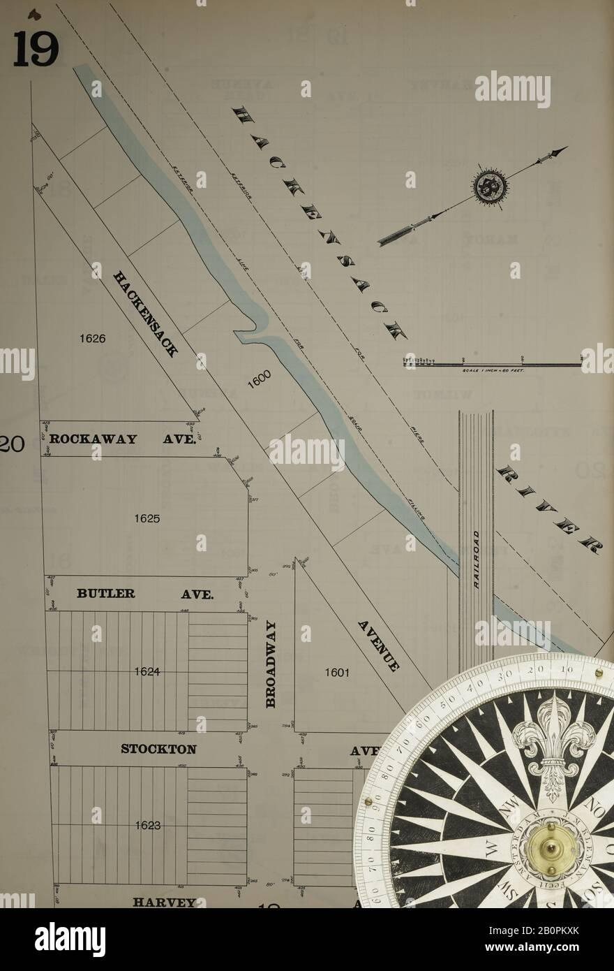 Bild 21 von Sanborn Fire Insurance Map aus Hudson Co., Hudson County, New Jersey. Bd. 5, 1896. 79 Blatt(e). Inklusive Jersey City. Bound, Amerika, Straßenkarte mit einem Kompass Aus Dem 19. Jahrhundert Stockfoto