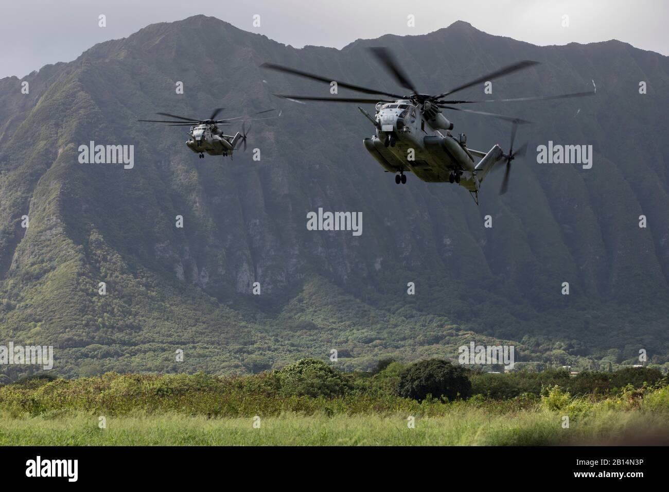 U.S. Marine Corps CH-53E Super Stallions, die der Marine Heavy Helicopter Squadron (HMH) 463 zugeordnet sind, bereiten sich während einer Hubschraubereinführungsübung im Marine Corps Training Area Bellows (MCTAB), Hawaii, am 18. September 2018 auf Land und Absetzung von US Marineinfanterieherien mit der India Company, 3rd Battalion, 3rd Marine Regiment, vor. Das Unternehmen wurde mit CH-53E Super Hengstes in MCTAB eingesetzt, um eine sichere Landezone zu schaffen, über Straßen und durch Dschungelgelände zu patrouillieren und simulierte Dörfer von Hostiles zu löschen. (USA Foto des Marine Corps von Sgt. Jesus Sepulveda Torres) Stockfoto