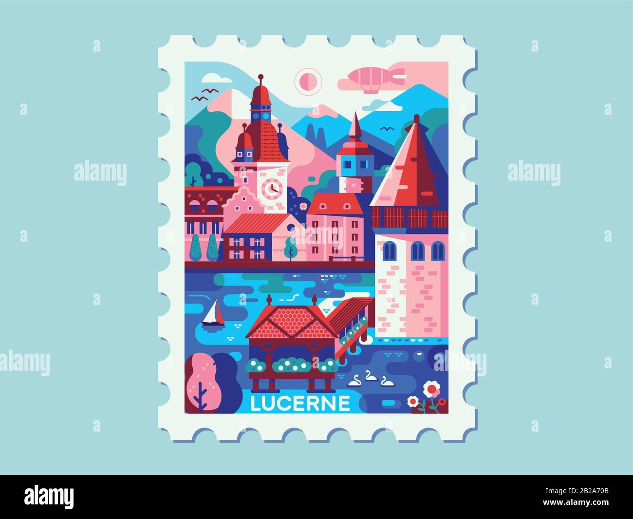 Alps Mountains Stadt Luzerner Vintage Travel Mark Stock Vektor