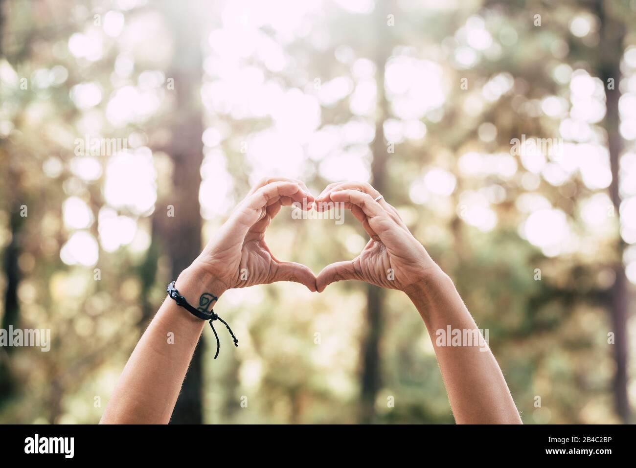 Das Tageskonzept der Erde mit zwei menschlichen Menschen hängt mit dem Symbol des Herdes mit schönem entschärftem Wald im Hintergrund - keine Feuer- und Entwaldungsbotschaft für die zukünftige Generation und den gesunden Planeten Stockfoto