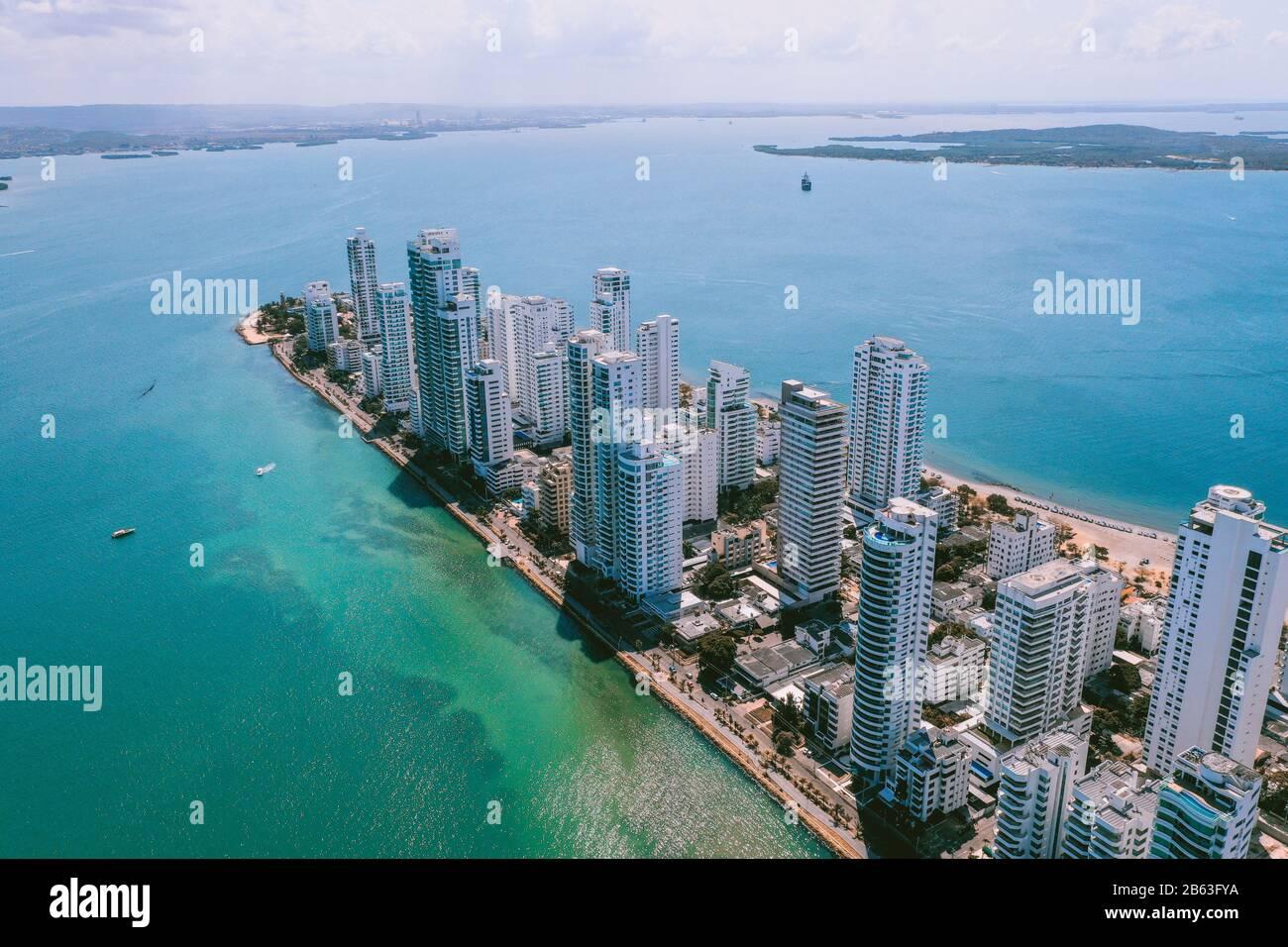Luftaufnahme von Cartagena Bocagrande Stockfoto