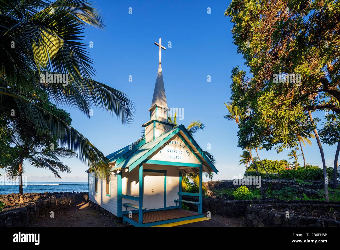 USA, Hawaii, Big Island, Kona, St Peter's by the Sea Catholic Church Stockfoto