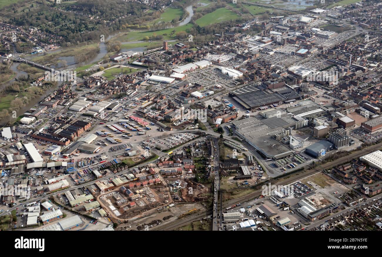 Luftaufnahme der Brauereistadt Burton on Trent, Staffordshire Stockfoto