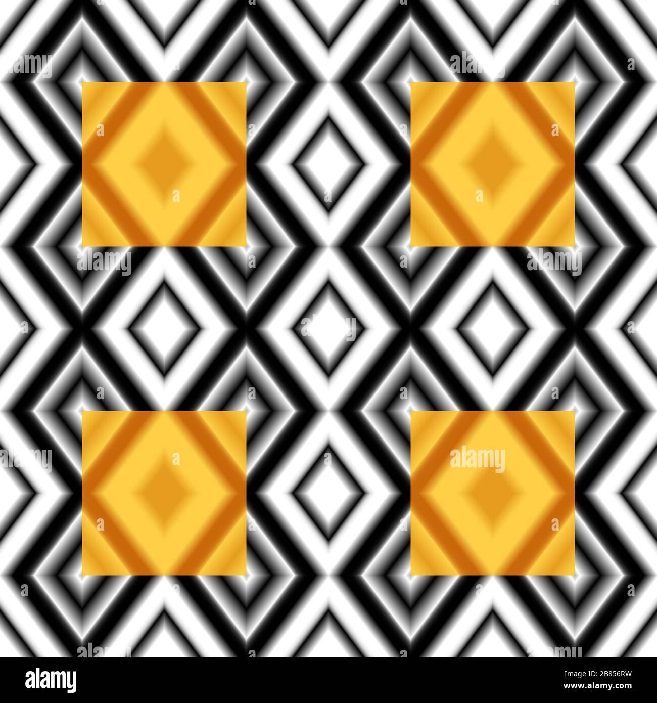 Nahtlose, bunte Kulisse. Bunte Struktur mit Farbverlauf und Rhomben. Schwarzweiß-Farben Stock Vektor