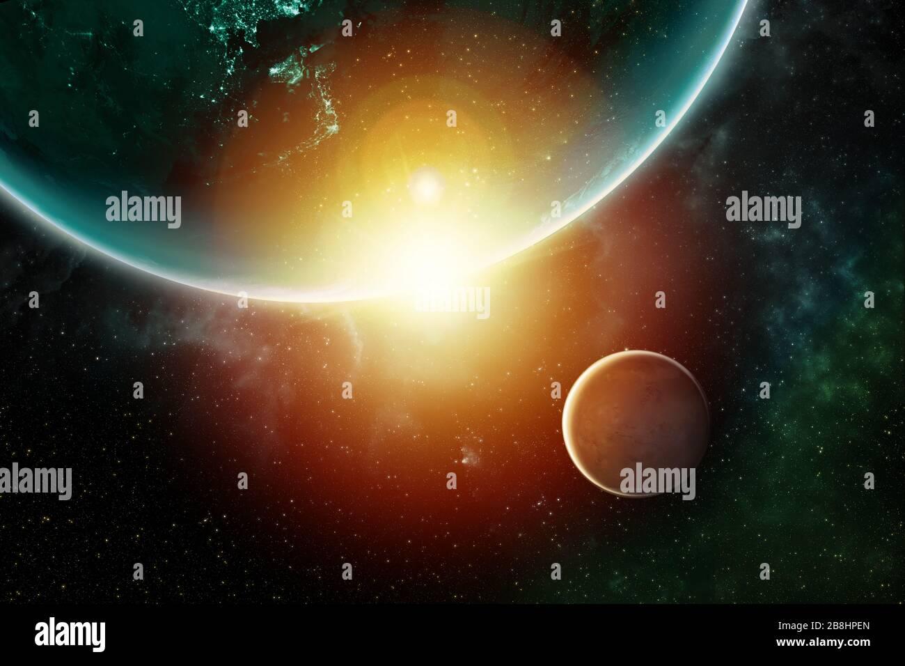 Mars und die Erde mit bunten Gasen im Weltraum des Universums mit Gasen, die von der NASA zur Verfügung gestellt werden Stockfoto