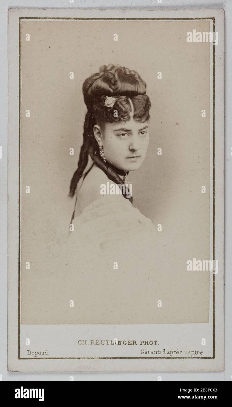 Porträt von Delphine Lissy oder Lizy (Schauspielerin) Portrait de Delphine de Lissy ou Lizy, actrice. 1860-1890. Carte de visite (recto). Tirage sur Papier Albuminé. Photographie de Charles Reutlinger (1816-1880). Paris, musée Carnavalet. Stockfoto
