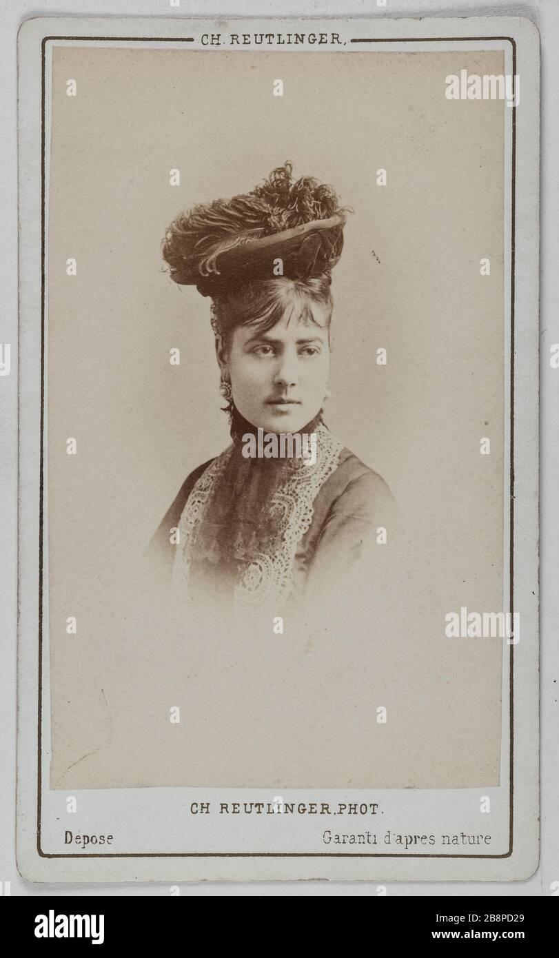 Porträt von Delphine Lissy oder Lizy (Schauspielerin) Portrait de Delphine de Lissy ou Lizy, actrice. Avant 1872. Carte de visite (recto). Tirage sur Papier Albuminé. Photographie de Charles Reutlinger (1816-1880). Paris, musée Carnavalet. Stockfoto