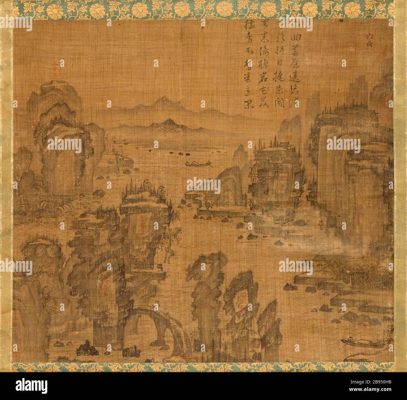 """""""Das Sechste der neun Biegungen am Mount Wuyi, China (Bild 1 von 5); Englisch: Korea, Koreanisch, Joseon Dynastie (1392-1910), aus dem 17. Jahrhundert Gemälde Hängerolle, Tusche auf Ramie oder Hanf Bild: 20 3/4 x 23 1/8 in. (52,71 x 58,74 cm); Montage: 48 3/4 x 25 in. (123.83 x 63,5 cm); Rolle: 27 1/4 in. (69.22 cm) mit Museum Mittel (M. 2000.15.20) koreanischer Kunst gekauft; 17. Jahrhundert Datum QS: P 571, +1650-00-00 T00:00:00Z/7;"""". Stockfoto"""