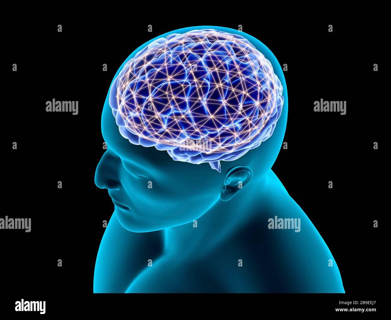 Konzeptionelles Bild eines neuronalen Netzes im menschlichen Gehirn. Stockfoto