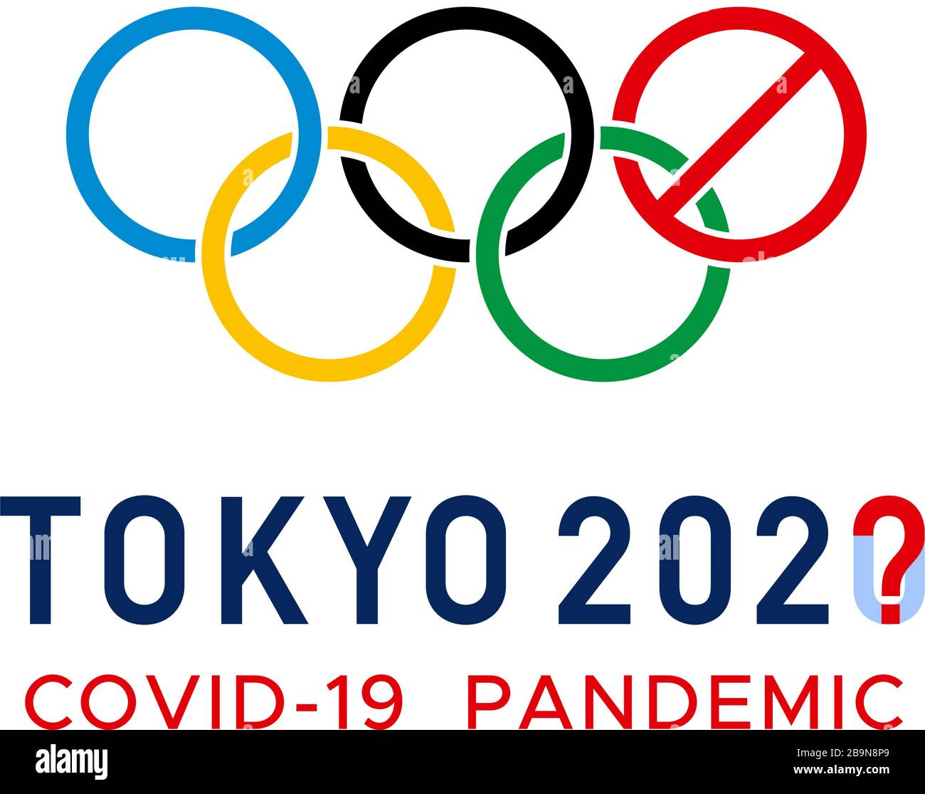 COVID 20 im Tokyo 20 Olympics Logo. Abgebrochen Stock ...