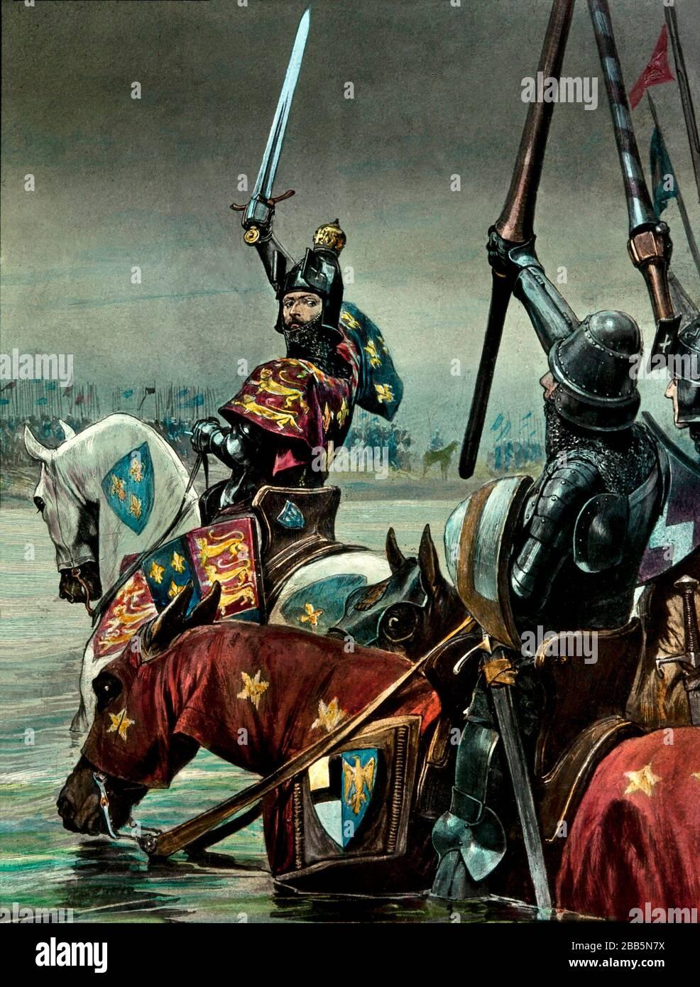 Animationsillustrationen von englischen und französischen Feldzügen und Kriegsgeschauptbildern um 1800, einschließlich der Französischen Revolution und Napoleonischen Kriegen. Diese Illustrationen entstanden um 1900 Stockfoto