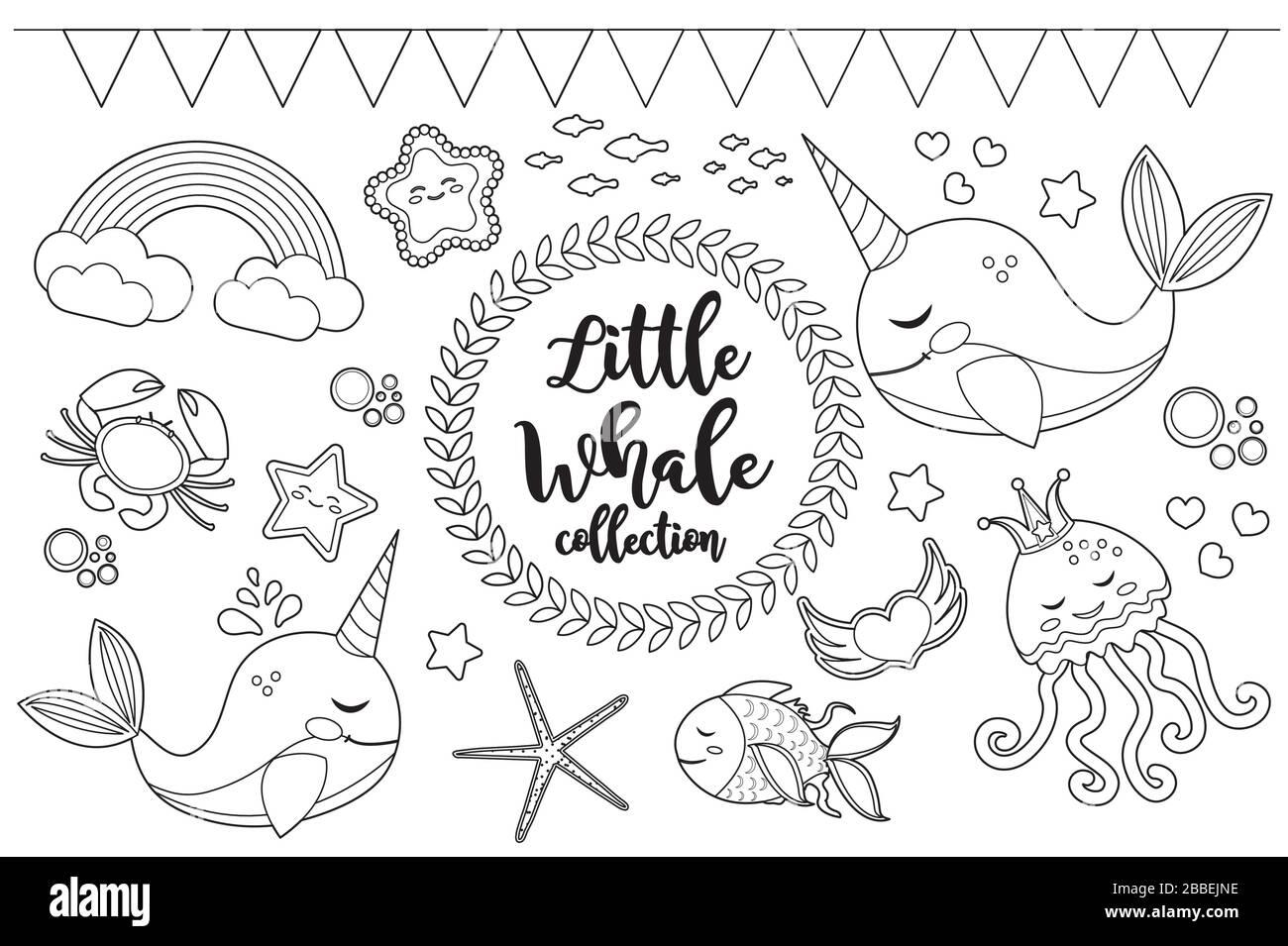 Little Wal Einhorn Set Malvorlagen für Kinder. Sammlung von
