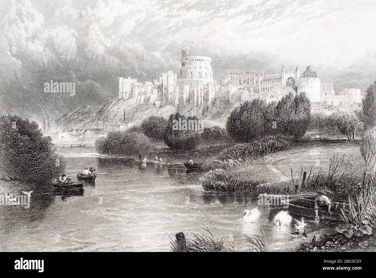 Antike Gravur von Windsor Castle von der Themse Stockfoto