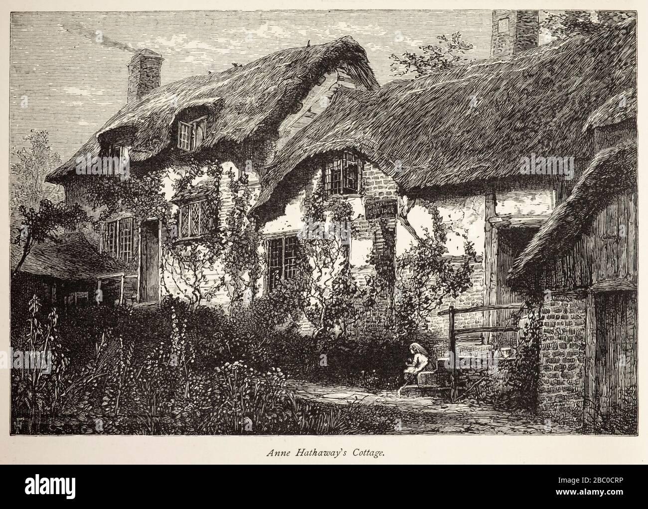 Antike Gravur des Anne Hathaway's Cottage in Sottery in der Nähe von Stratford-upon-Avon, Warwickshire, Großbritannien Stockfoto