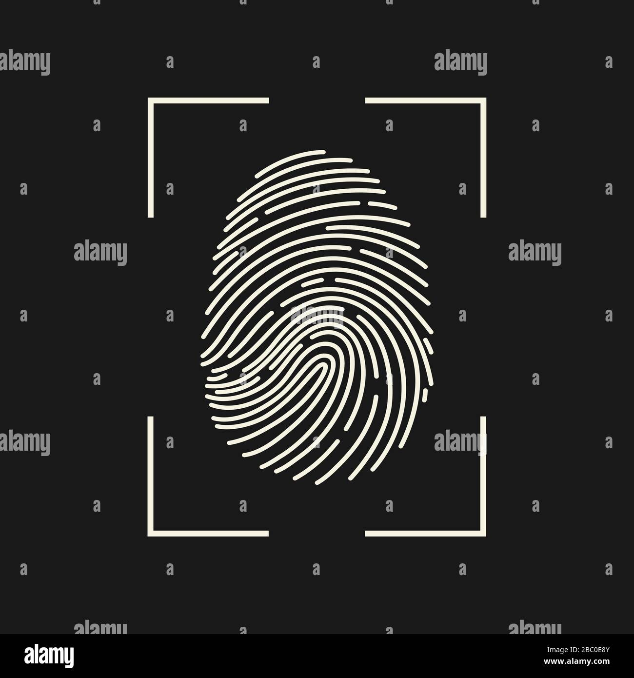 Fingerabdrucksymbol. Cyber-Sicherheitskonzept. Authentifizierungskonzept für digitale Sicherheit. Biometrische Autorisierung. Identifikation. Vektorgrafiken. Stock Vektor