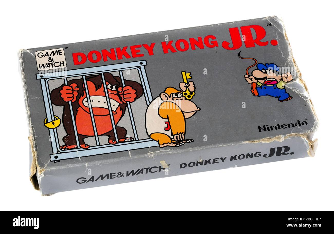 1980er Jahre Nintendo 'Game & Watch' Donkey Kong Jr. Hand-Elektronisches Spiel, erstellt vom Spieledesigner Gunpei Yokoi und produziert von 1980 bis 1991. Stockfoto