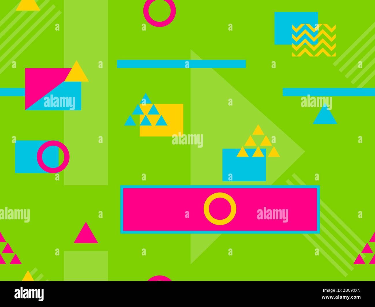 Nahtloses Muster im Stil der 80er und 90er Jahre mit geometrischen Formen und memphis-elementen. Trendiger farbenfroher Retro-Hintergrund für Werbeartikel Stock Vektor