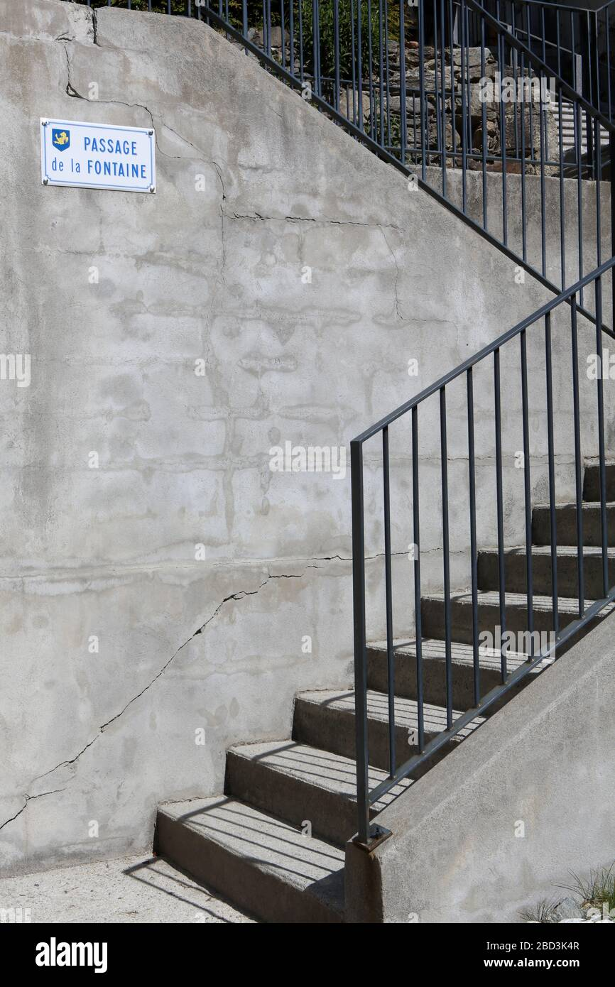 Escalier. Passage de la Fontaine. Saint-Gervais-les-Bains. Savoie. Frankreich. Stockfoto