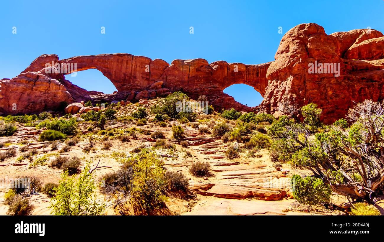 Der South Window Arch in der Windows Sektion in der Wüstenlandschaft des Arches National Park, Utah, USA Stockfoto