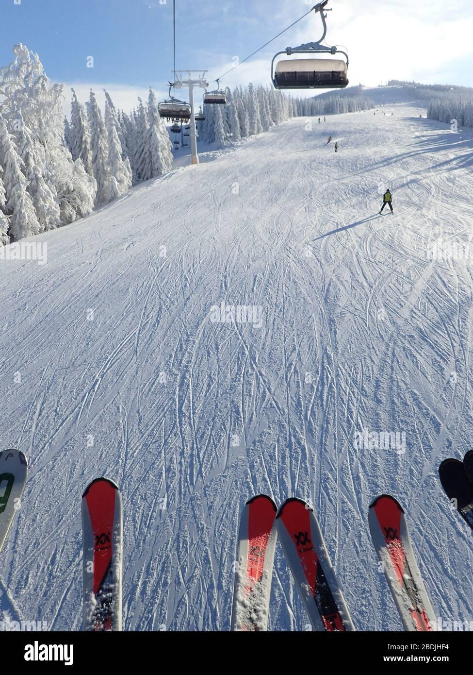 Skifahren in Szczyrk Stockfoto