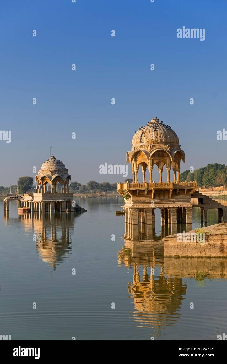 Gadisar Lake Jaisalmer Rajasthan Indien Stockfoto