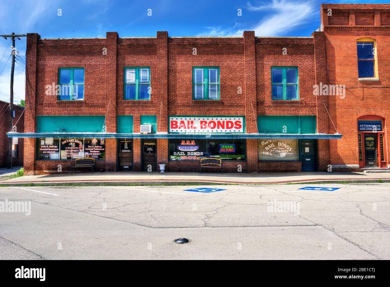 Bail Bonds auf der historischen Route 66 in Chandler, Oklahoma Stockfoto