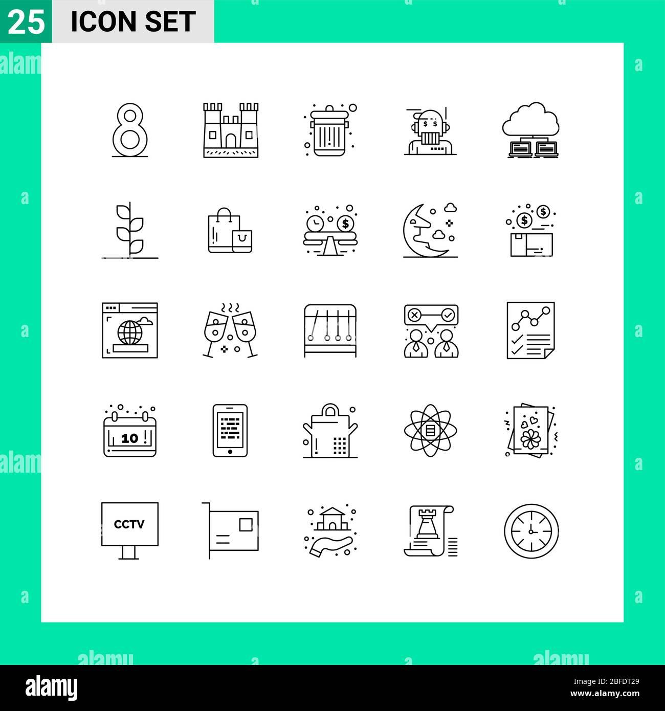 25 Linienkonzept für Websites Mobile und Apps Internet, Netzwerk, Trash, Cloud, Algorithmus editierbare Vektordesign-Elemente Stock Vektor