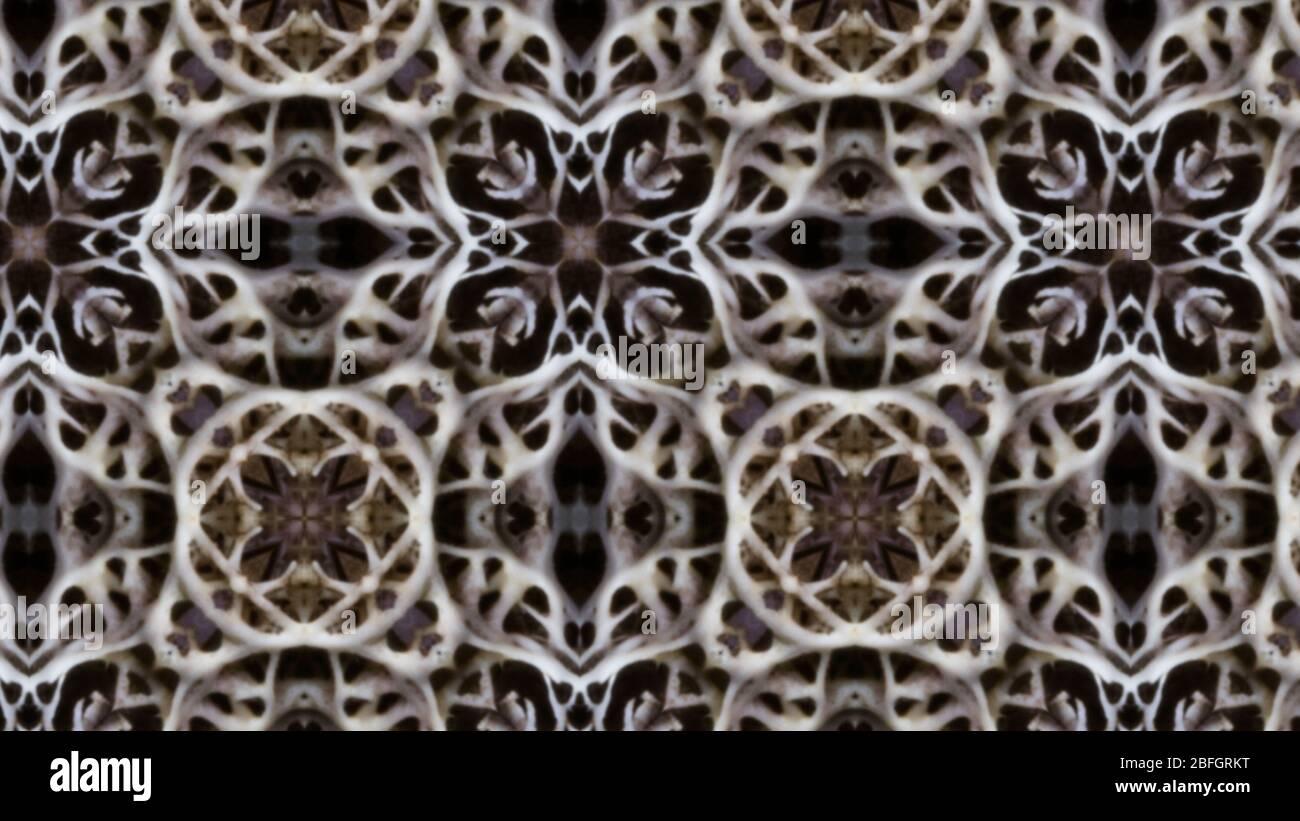 Muster und Textur mit kalideScope-Effekt. Optische Illusion Illustration psychedelischen Stil Hintergrund. Stockfoto