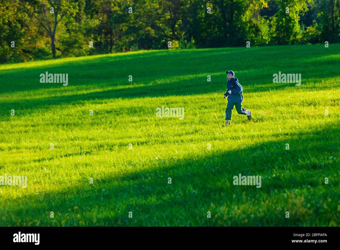 Teenager mit seinem Golden Retriever Hund in die grüne Rasenflächen des Parks. Stockfoto