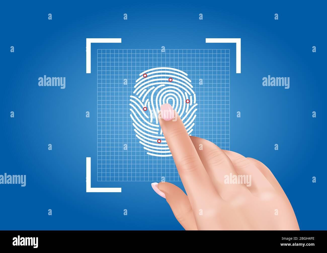 Vektorgrafiken, die das Scannen von Fingerabdrücken darstellen, um den Zugang zur Sicherheit durch biometrische Identifikation zu gewährleisten. Stock Vektor