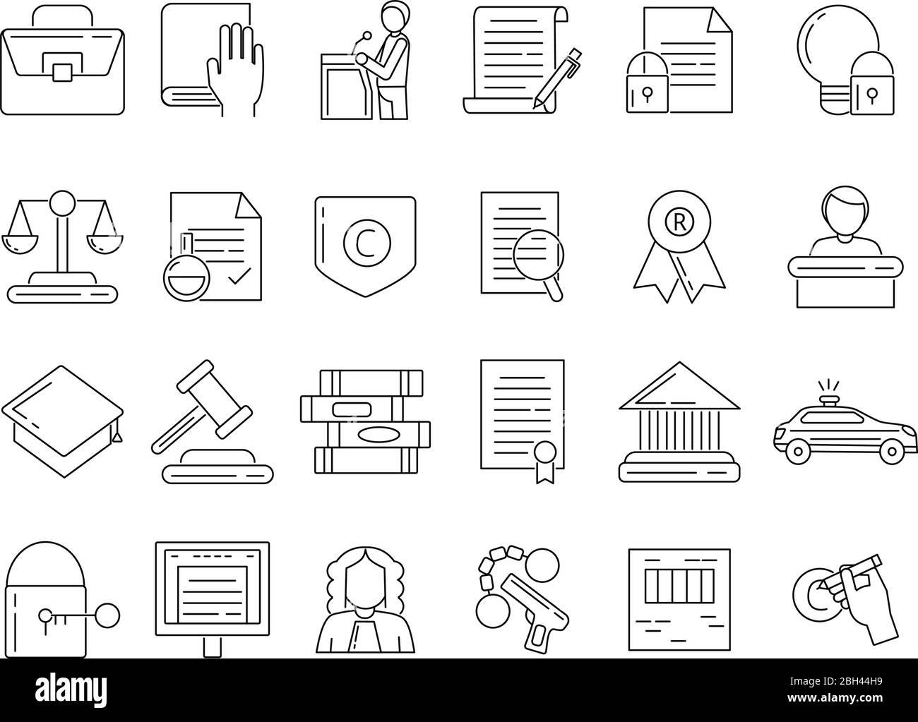 Lineare Symbole für Anwalt, Kriminelle und Urheberrechtsschutz. Rechtswissenschaft, Gericht und Urteil Linienstil. Vektorgrafik Stock Vektor