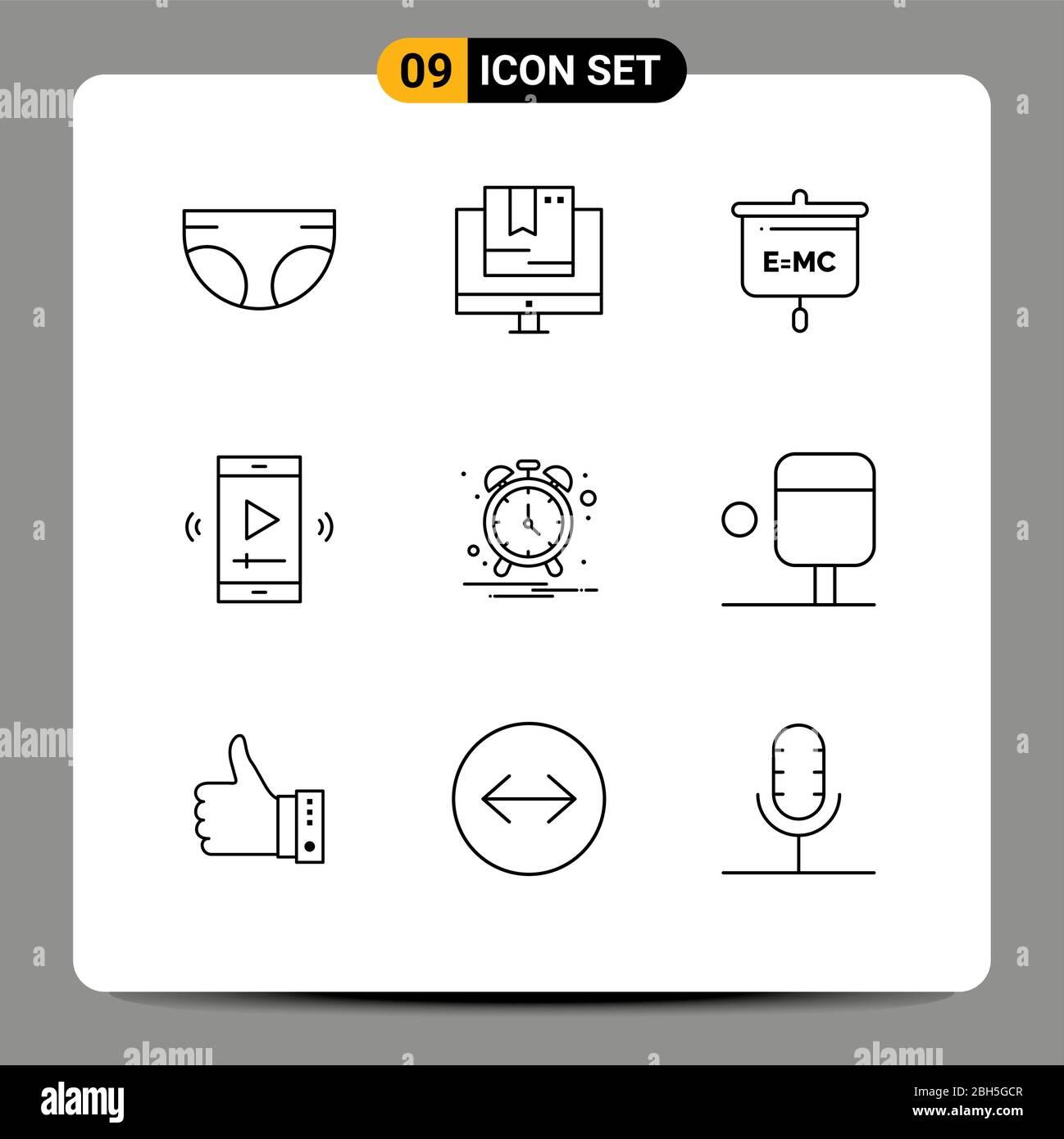 9 Kreative Symbole Moderne Zeichen und Symbole der Video-Player-App, Multimedia, Technologie, Film-Bildschirm, Schule editierbar Vektor Design-Elemente Stock Vektor