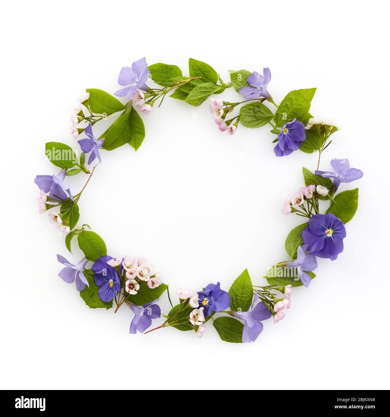 Blumenzusammensetzung. Kranz aus verschiedenen bunten Blumen. Ostern, Frühling, Sommer Konzept. Flach liegend, Draufsicht. Stockfoto