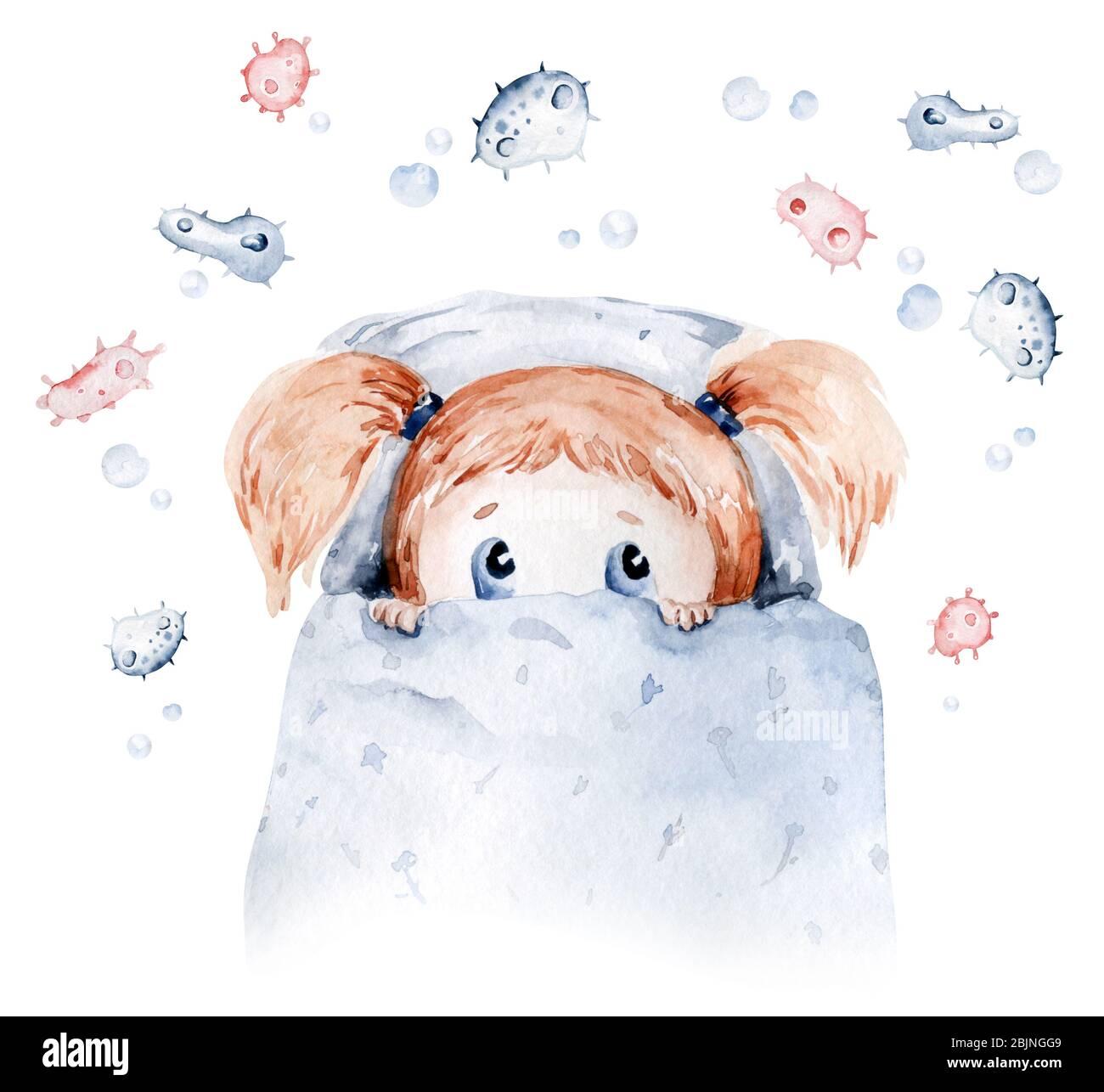 Nette Karikatur Tierarzt, Pillen, Krankenwagen, Maske, Bakterien, Viren, Coronavirus. Aquarell Hand gezeichnet junge und Mädchen Arzt gesetzt. Stockfoto