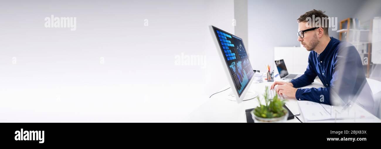 KPI Dashboard und Computerdatenmanagement-Technologie Stockfoto