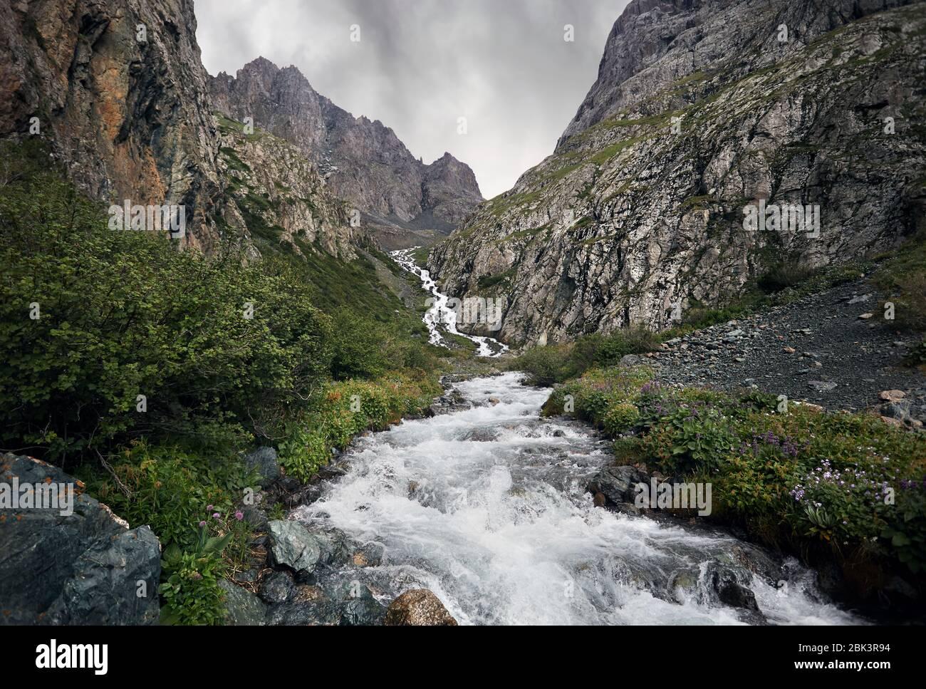 White Water River im Tal mit Rocky Mountains Nationalpark in Karakol, Kirgisistan Stockfoto