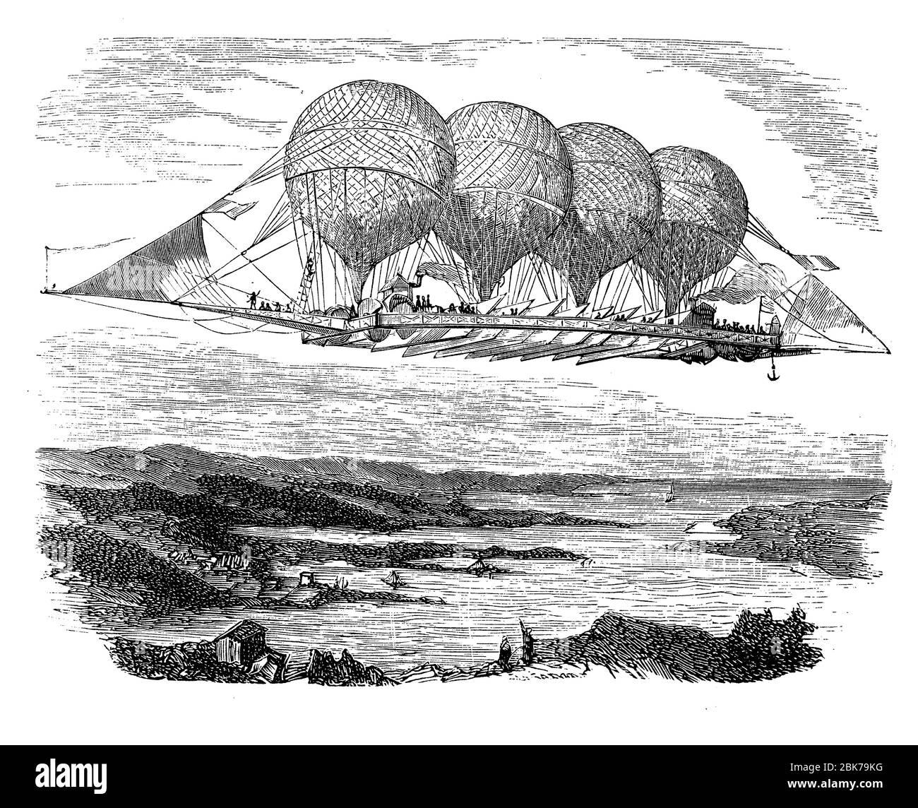 Monsier Petrin der französische Ballonfahrer entwarf ein 160 Meter langes Luftschiff, das von vier Ballons mit Plattform und Lenksystem hochgehalten wurde, 1850 Stockfoto