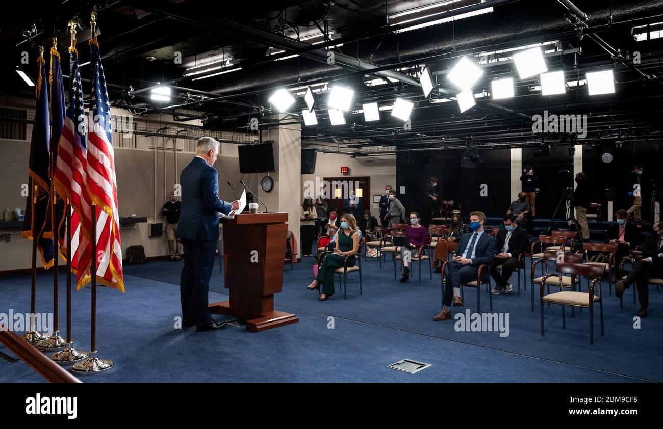 Washington, Usa. Mai 2020. Der US-Repräsentant Kevin McCarthy (R-CA) spricht auf seiner wöchentlichen Pressekonferenz in Washington, DC. Quelle: SOPA Images Limited/Alamy Live News Stockfoto