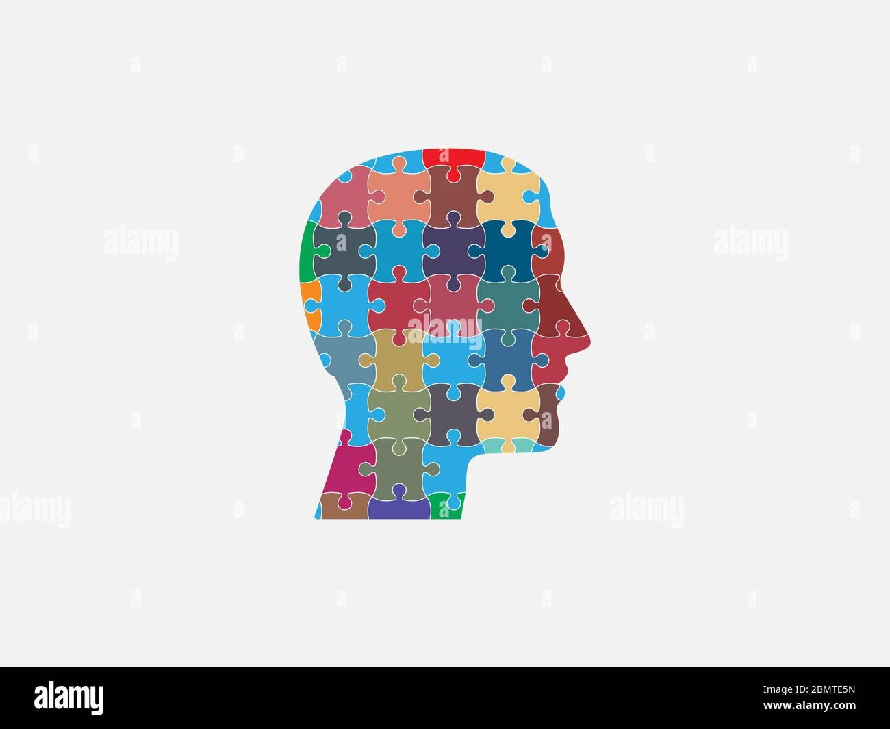 Menschlicher Kopf, Puzzle-Symbol. Vektorgrafik, flaches Design. Stock Vektor