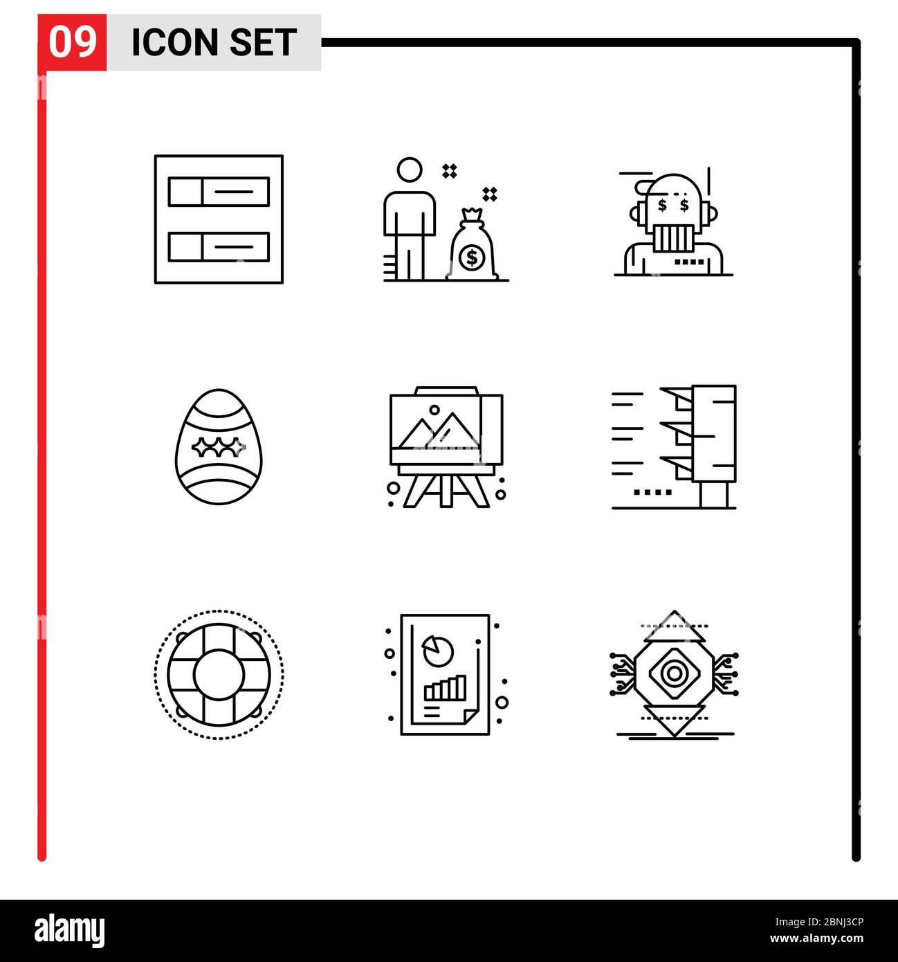 Set von 9 modernen UI Icons Symbole Zeichen für Kunst, Staffelei, Berater, Ei, Dekoration editierbare Vektor Design-Elemente Stock Vektor