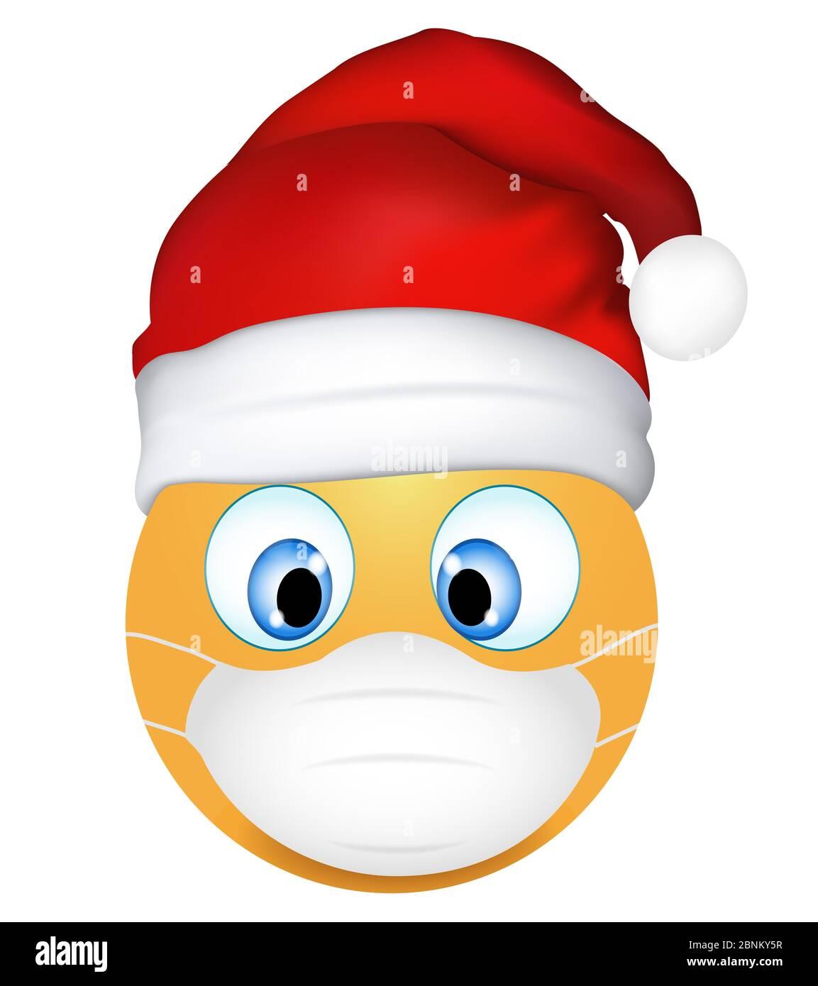Emoji Emoticon trägt medizinische Maske und Weihnachtsmann ...