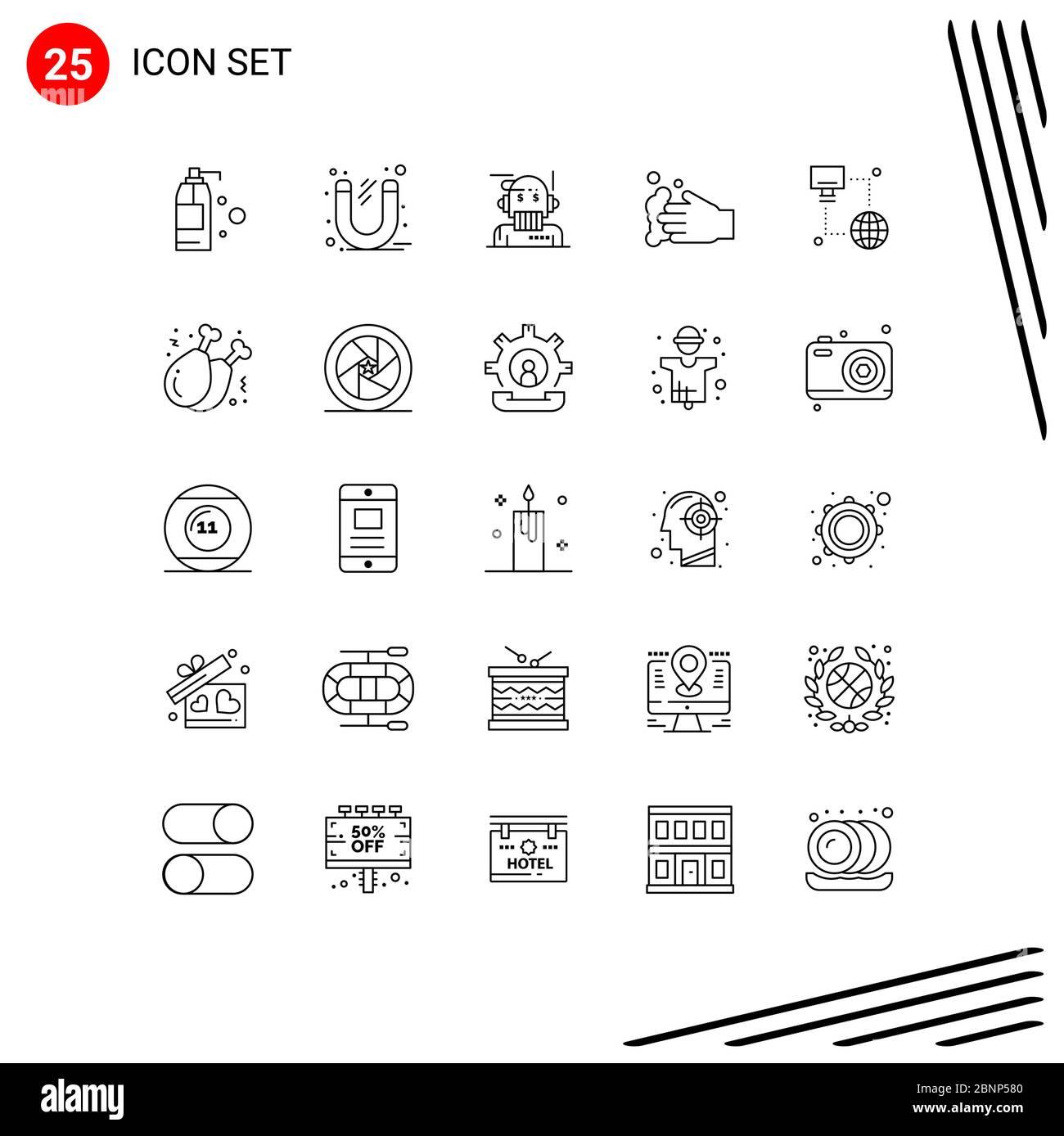 25 Linienkonzept für Websites Mobile und Apps Internet, Seife, Robo Advisor, Hand, Analyst editierbare Vektor Design-Elemente Stock Vektor