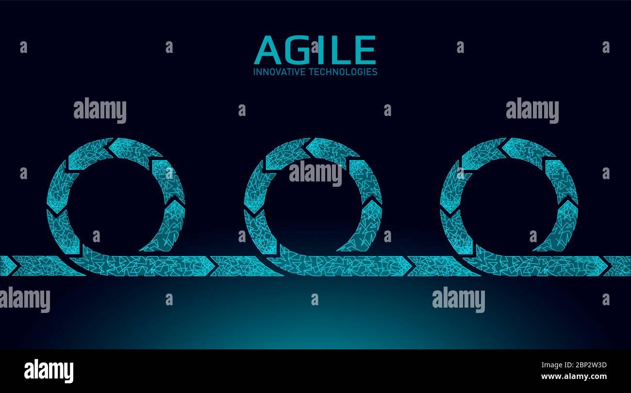 Agiler Entwicklungsprojekt-Lebenszyklus. Testsystem Strategiekonzept. Kreis Pfeil Symbol low Poly flexible Hobeln. Vektorgrafik Stock Vektor