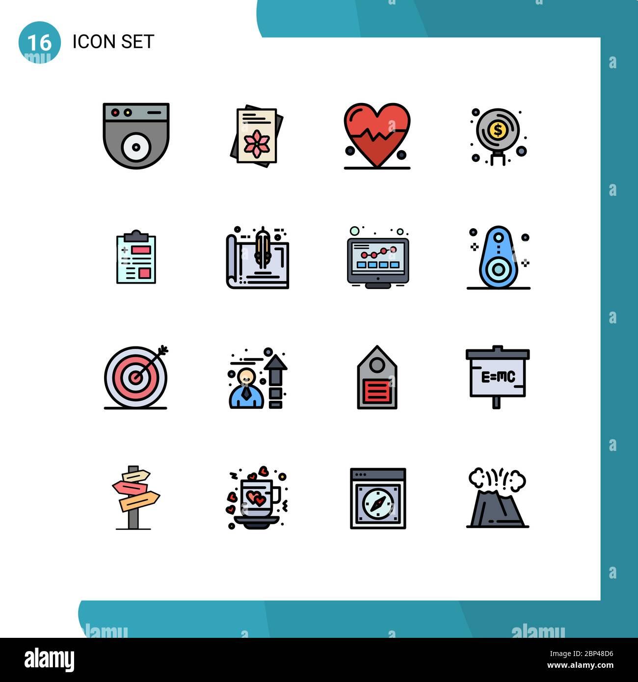 16 Universal Flat Color gefüllte Linien Set für Web und Mobile Anwendungen Gesundheit, Bericht, Herz, Geld, Fonds editierbar Kreative Vektor Design-Elemente Stock Vektor