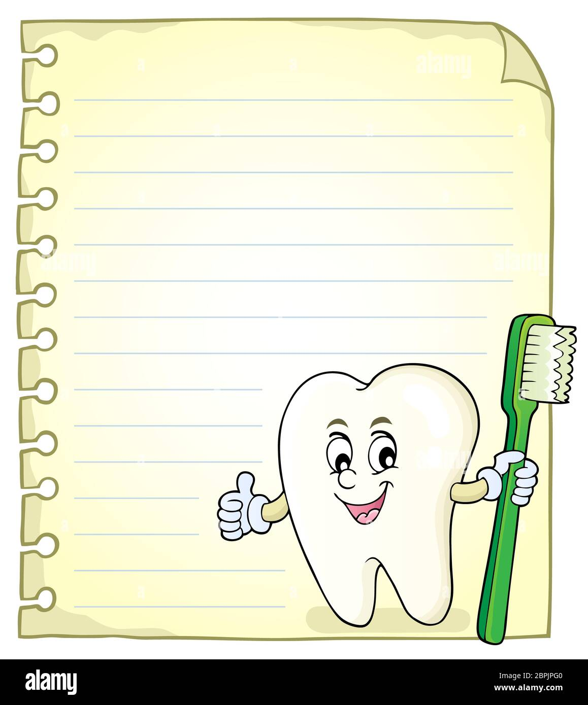 Notizblock Seite mit glücklichen Zahn - Bild Illustration. Stockfoto