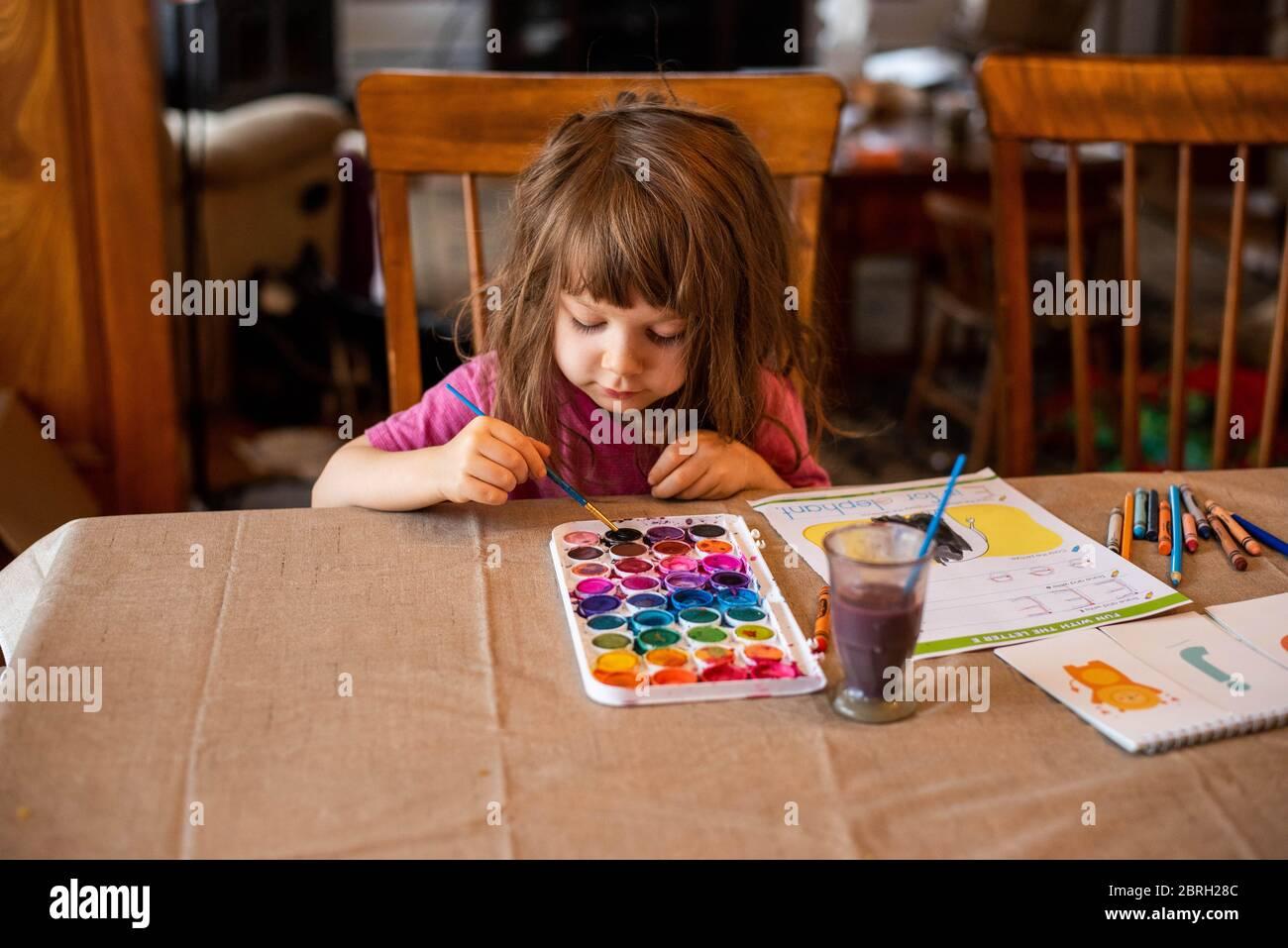 Ein 5-jähriges Mädchen malt mit einer Vielzahl von Aquarellfarben. Stockfoto