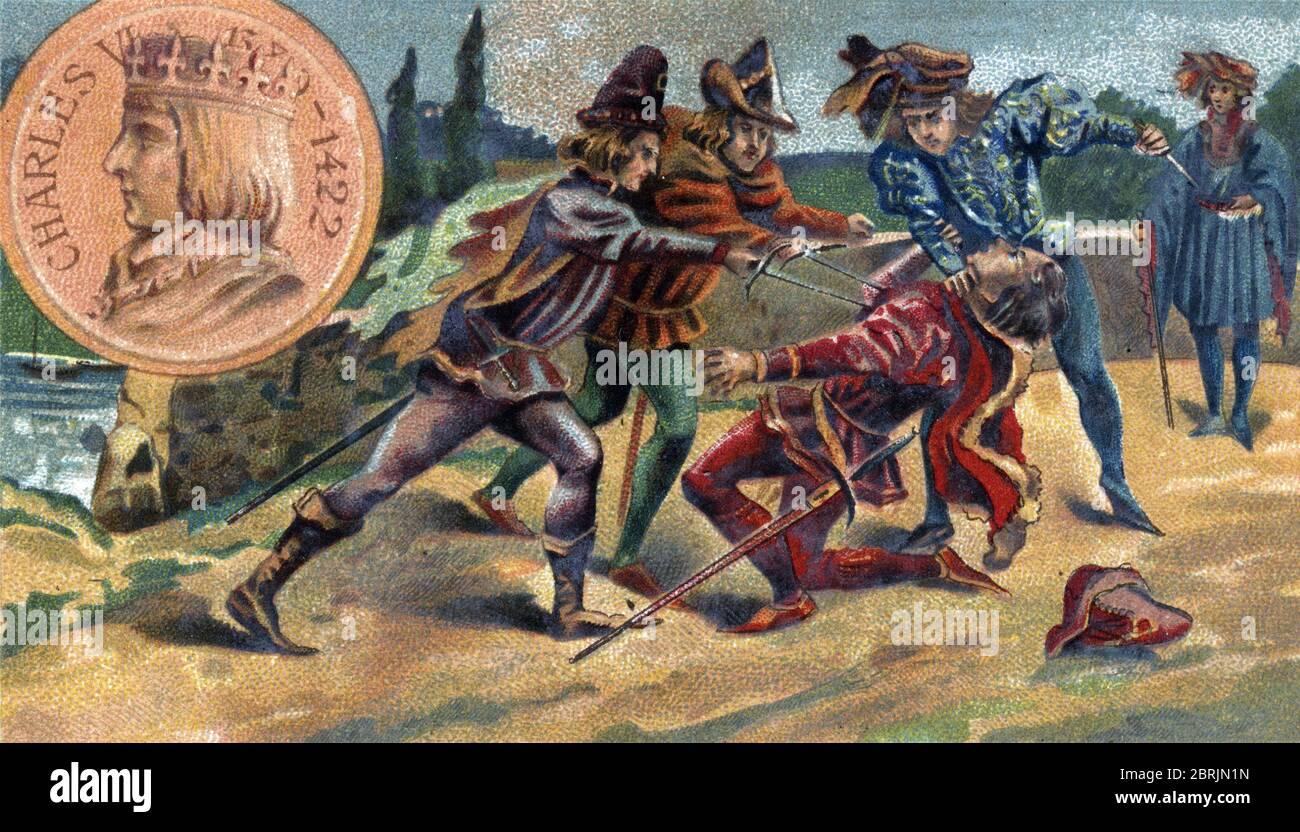 Guerre de Cent ans (Guerre civile entre Armagnacs et Bourguignons) : Assassinat de Jean Ier de Bourgogne, dit Sans Peur (1371-1419), sur le pont de Mo Stockfoto