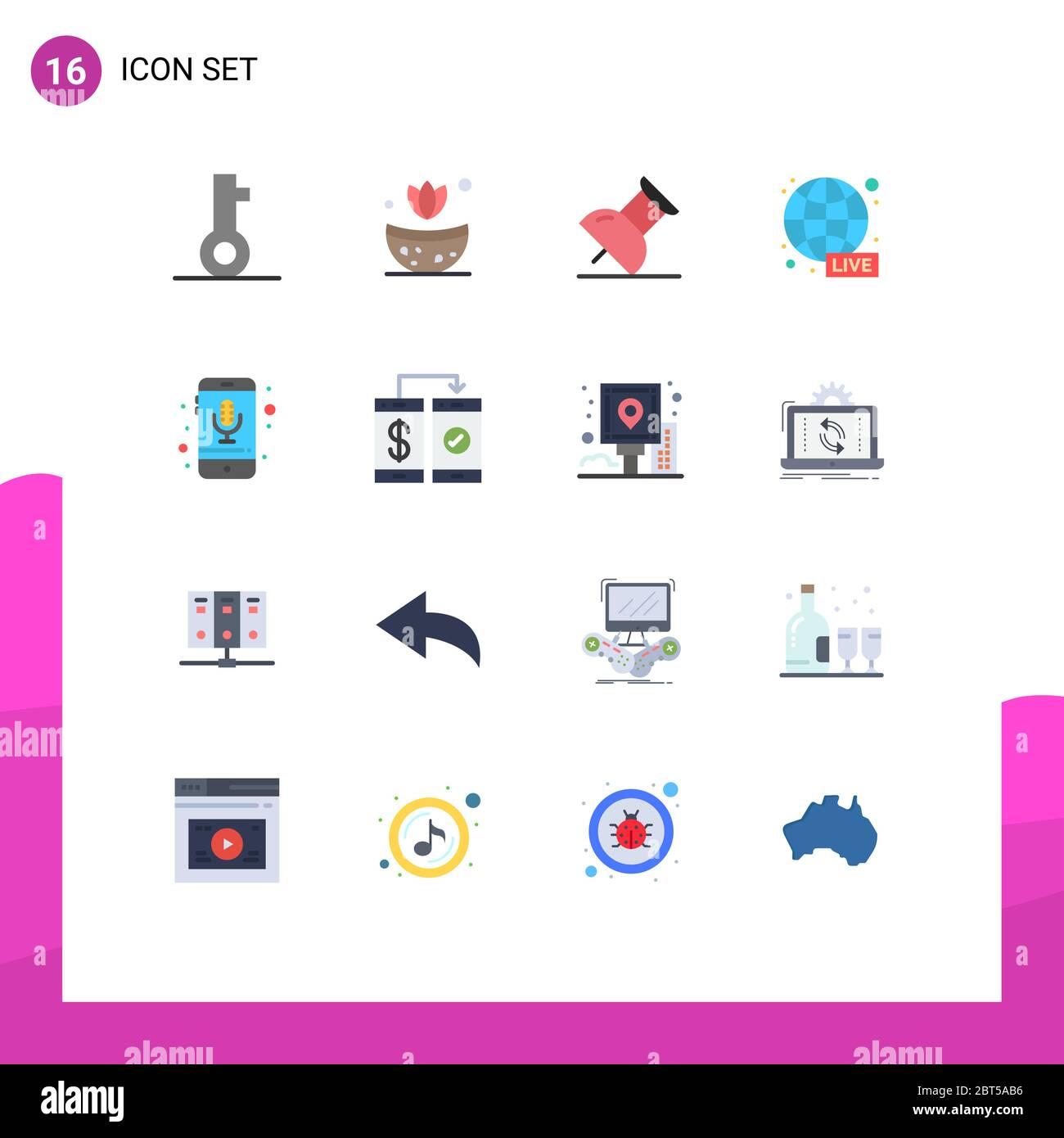 20 Universal Flat Color Signs Symbole von Smartphone, Telefon, PIN ...
