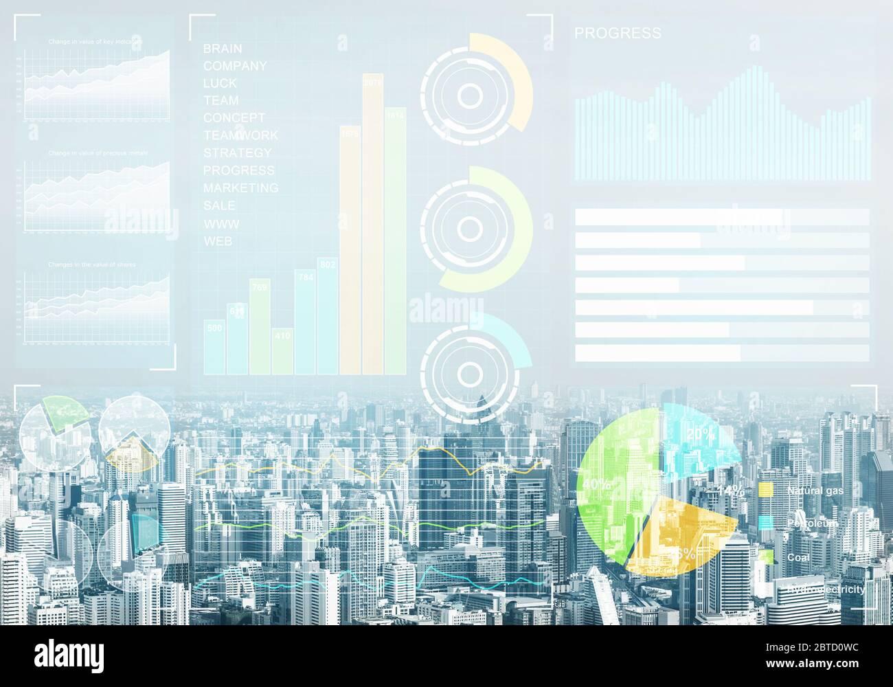 Börse Charts- und Finanzviertel Stockfoto
