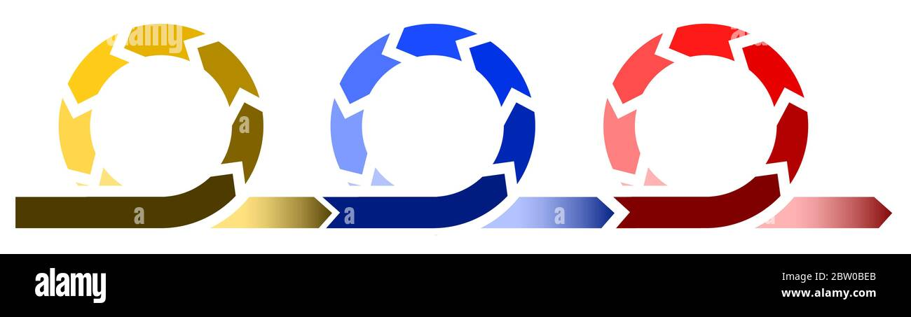 Lebenszyklus Entwicklung Prozessdiagramm, Infografik mit drei Kreisen in verschiedenen Farben Stock Vektor